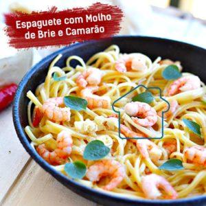 Espaguete Molho Brie e Camarão