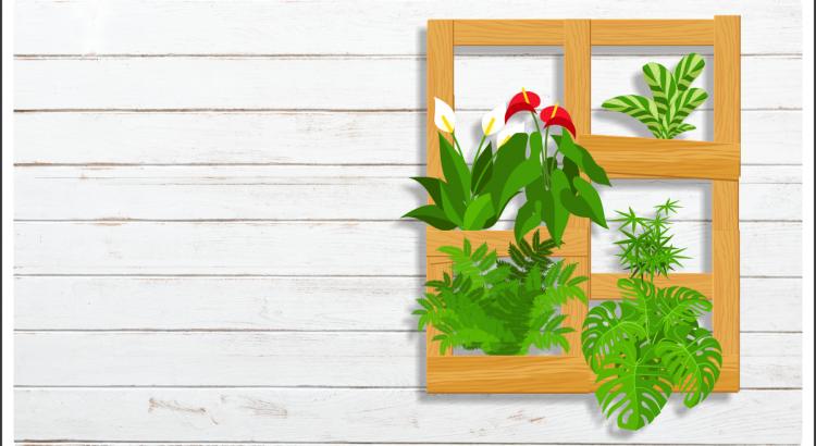 parede de madeira branca com jardim vertical posicionado ao lado direito da imagem