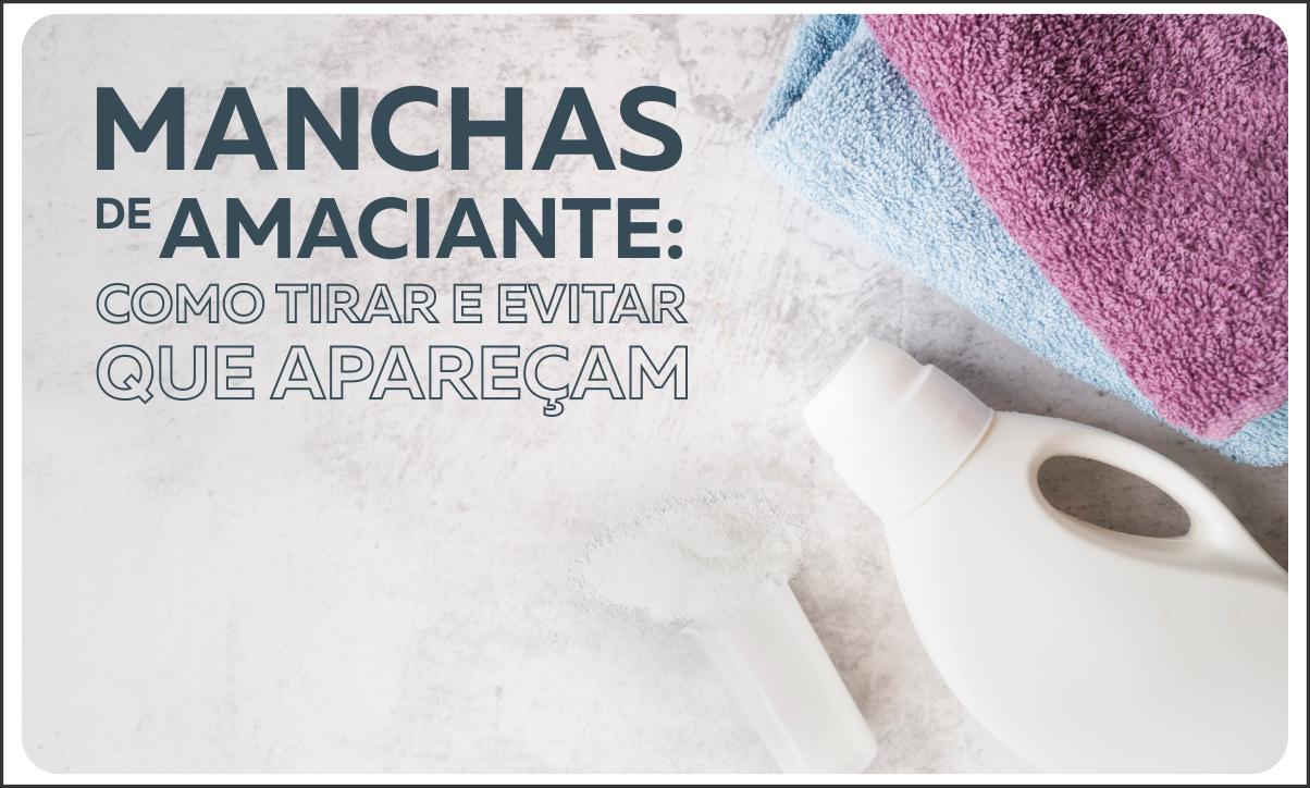 toalhas, um frasco e o titulo manchas de amaciante